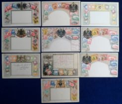 Postcards, German Colonies & States, embossed stamp cards inc. Bavaria, Morocco, Samoa, South West