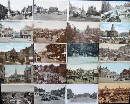 Postcards, a good collection of approx. 100 cards of UK markets and market places with RP's of St