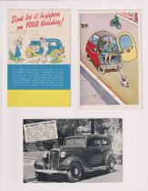 Postcards, Advertising, 5 Motoring adverts inc. 2 showing the Ford Motor Co premises also one