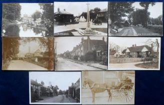 Postcards, an RP Hertfordshire village selection of 8 cards, inc. Fire at North End Walkern, Walkern