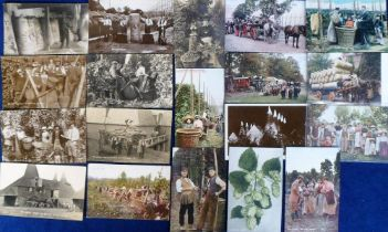 Postcards, a good hop-picking selection of 19 cards with good RP's of bagging up hops Whitbread