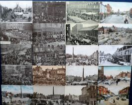 Postcards, a further selection of approx. 110 cards of UK markets and market places with RP's of