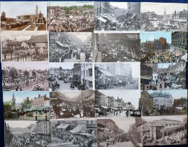 Postcards, a collection of approx. 90 cards of UK markets and market places. RP's inc. Market