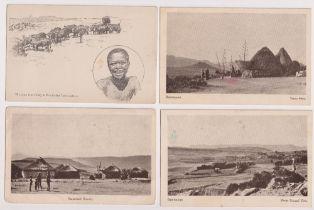 Postcards, Basutoland, Africa, 7 printed cards, 3 coloured inc. one duplicate, inc. native huts,