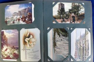 Postcards, a vintage album containing approx. 200 cards inc. UK topographical, theatre, greetings