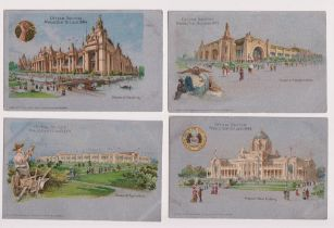 Postcards, World's Fair, St Louis 1904, 7 different cards inc. Palace of Agriculture, Missouri State
