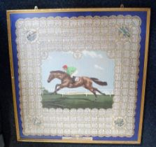 Horse Racing, a framed silk scarf celebrating the 1951 Festival of Britain Derby won by Arctic