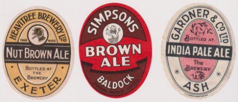 Beer labels, 3 vertical oval labels, Simpsons, Baldock, Brown Ale, Heavitree Brewery Ltd, Exeter,