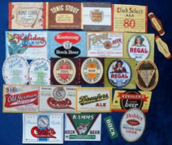 Beer labels, USA/Canada, a nice group of 21 labels, various sizes and brewers, no collectors
