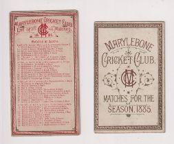 Cricket, Marylebone Cricket Club, (MCC) a fold out fixture card for 1885 (split along spine)