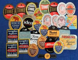 Beer labels, a selection of 29 labels, 12 mainly Smithwicks of Kilkenny Ireland and 17 Kent labels