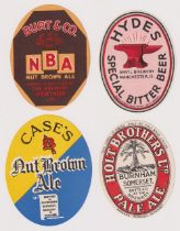 Beer labels, a selection of 4 vertical oval labels, Case's Nut Brown Ale, Burt & Co Nut Brown Ale