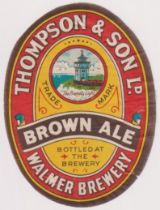 Beer label, Thompson & Son Ltd, Walmer, Kent, Brown Ale, vertical oval 85mm high (some thinning,