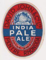 Beer label, David John & Co Ltd, Pentre, Rhondda, India Pale Ale, with beehive trade make,