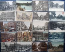 Postcards, London & suburbs, a collection of 57 mainly printed cards with a few RP's inc. street