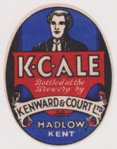 Beer label, Kenward & Court Ltd, Hadlow, Kent, K C Ale, vertical oval, 83mm high, (vg) (1)