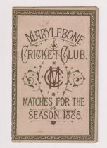 Cricket, Marylebone Cricket Club, (MCC) a fold out fixture card for 1886 detailing all home and away