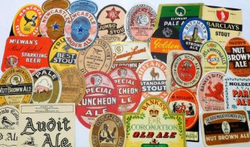 Beer Labels, a selection of 60+ labels, various shapes and sizes (2 with contents) including