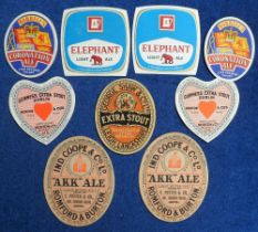Beer labels, a selection of 9 UK labels including George Shaw, Leigh, Extra Stout (vertical