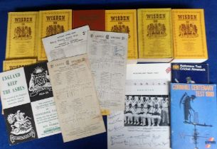 Cricket, selection inc. 3 score cards England v Australia 25 June 1953 (Len Hutton scores 145),