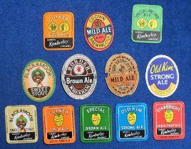 Beer labels, a group of 12 UK labels, including Bury Brewery Co, Mild Ale vertical oval (varnished?)