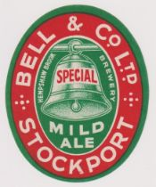 Beer label, Bell & Co, Hempshaw Brook Brewery, Stockport, Mild Ale, vertical oval, 84mm high (vg) (