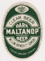 Beer label, Wellow Brewery Co Grimsby, Dark 'Maltanop' Beer, vertical oval 92mm high (vg) (1)