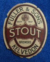 Beer label, Fuller & Sons, Kelvedon, Stout, vertical oval, 87mm high, (tatty with edge damage, poor)