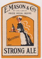 Beer label, E Mason & Co, Maidstone, Strong Ale, rectangular arched top 68mm high, (vg) (1)