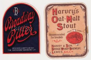 Beer labels, Broadway Brewery Ltd, Broadway Bitter, vertical arched (gd) & Harvey & Son, Lewes,