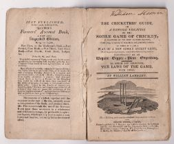 Cricket booklet, The Cricketers' Guide by William Lambert 3rd Edition 1816/17 paperback edition