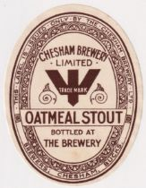 Beer label, Chesham Brewery (pre Brackley) Oatmeal Stout, vertical oval, 97mm high (gd/vg) (1)