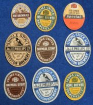 Beer labels, Phillips, Royston, 4 vertical ovals, Nut Brown Ale, 68mm high, Strong Stock Ale, 95mm