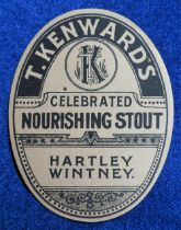 Beer label, T Kenward's, Hartley Wintney, Celebrated Nourishing Stout, vertical oval, 88mm high (