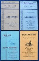 Beer Price Lists, a consecutive selection of 4 price lists from Balls Brothers, 55 St James's Street
