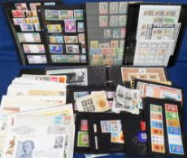 Stamps, Collection in 7 albums of Rowland Hill mint stamps, miniature sheets and first day covers