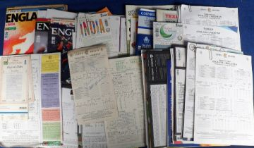 Cricket, Test matches, a selection of England Test Match items 1980's onwards for matches v India,