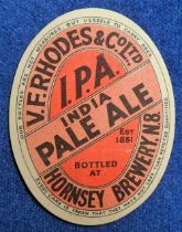 Beer label, V F Rhodes & Co Ltd, Hornsey Brewery N8, India Pale Ale, vertical oval, 84mm high, (