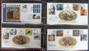 Stamps, Collection of 44 Benham first day covers all signed including Patrick Moore, Glenys Kinnock,