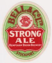 Beer label, Bell & Co, Hempshaw Brook Brewery, Stockport, Strong Ale, vertical oval, 72mm high (