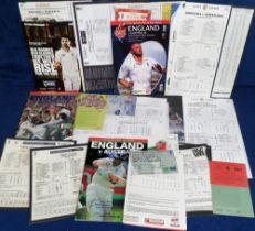 Cricket, England v Australia, a collection of scorecards, tickets & programmes etc, 1980's onwards