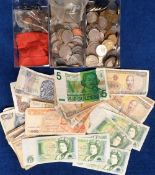 World Coins and Bank Notes, mixed coins from various countries together with 42 world bank notes