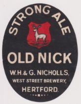 Beer label, W H & G Nicholls, Hertford, Strong Ale, vertical oval 85mm high (fair/gd) (1)