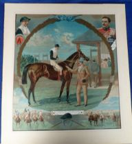 Horse Racing, Victorian colour lithographed horseracing print showing montage image of 'Ayrshire',