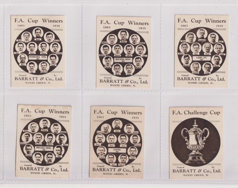 Trade cards, Football, Barratt's, F.A. Cup Winners, 6 cards, no 36 Huddersfield Town 1922, no 38