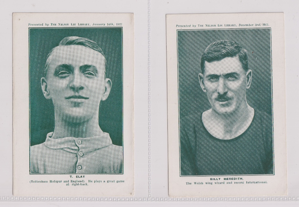 Trade cards, Nelson Lee Library, Footballers, greenish-grey halftones, 'P' size, English issue (9/