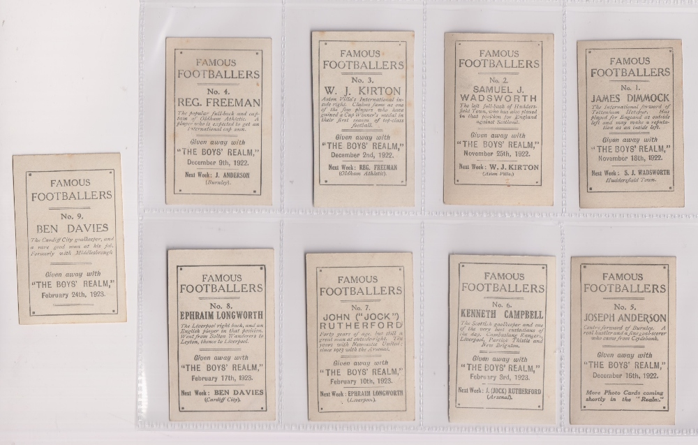 Trade cards, Boys Realm, Famous Footballers, 'M' size, (set, 9 cards) (gd) - Image 2 of 2
