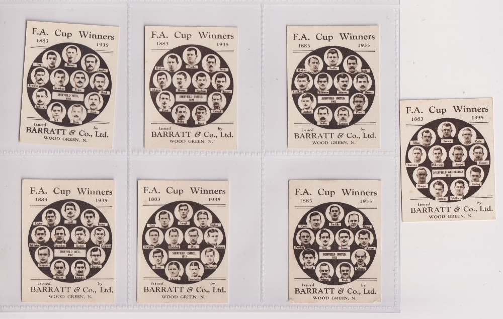 Trade cards, Football, Barratt's, F.A. Cup Winners, 7 cards, four Sheffield United, nos 17 1899,