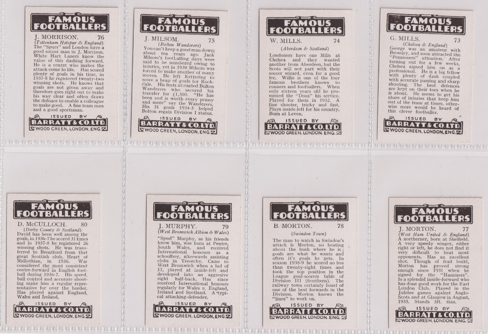 Trade cards, Barratt's, Famous Footballers (Numbered) 'M' size, 1939/40, ref HB-35 E, (set, 110 - Image 20 of 28