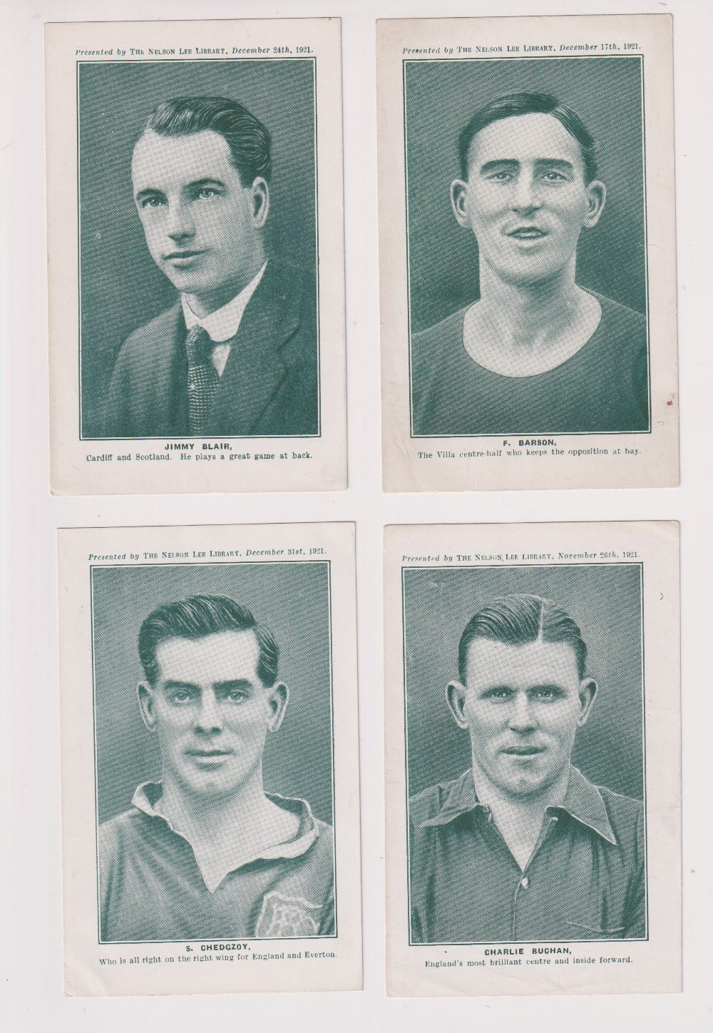 Trade cards, Nelson Lee Library, Footballers, greenish-grey halftones, 'P' size, English issue (9/ - Image 3 of 4